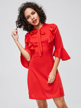Tie Neck Ruffle Flare Sleeve Day Dress