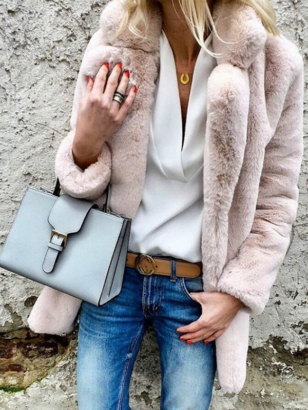 Solid Color Fur Lapel Straight Women's Winter Overcoat