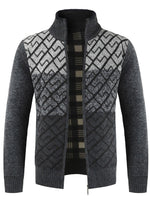 Color Block Patchwork Winter Men's Stand Collar Sweater Jacket