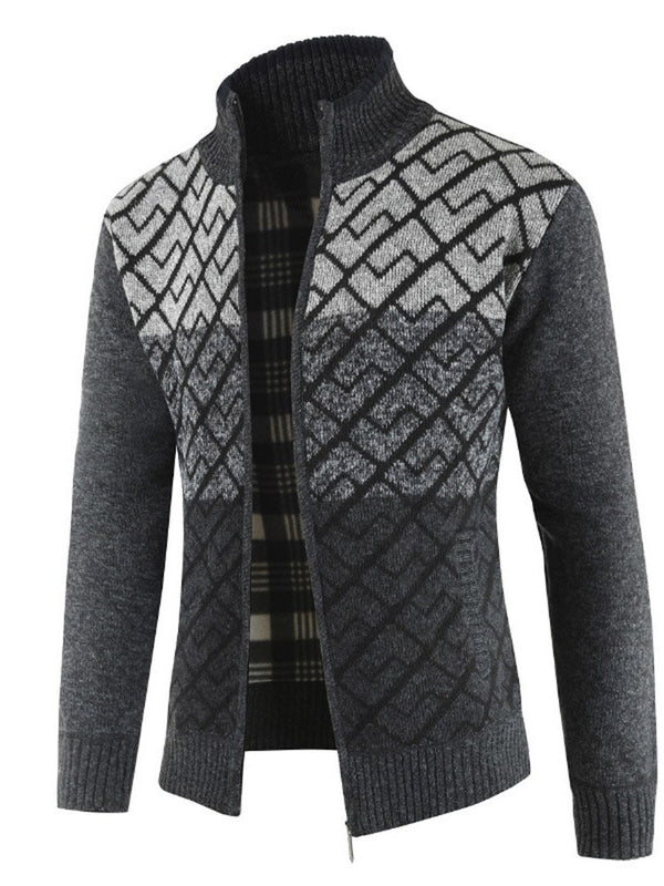 Color Block Patchwork Winter Herren Stehkragen Pullover Jacke