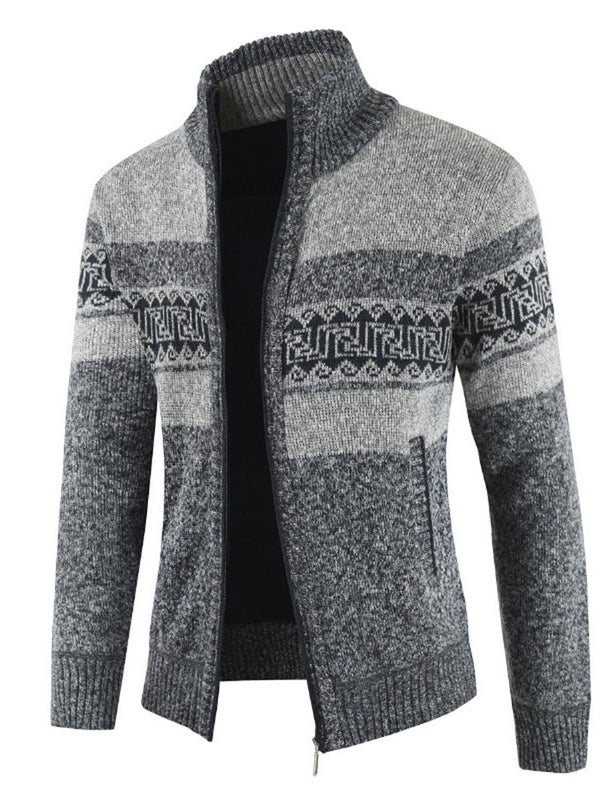 Color Block Patchwork Winter Cardigan Men's Stand Collar Sweater