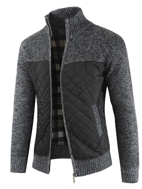 Stehkragen Patchwork Zipper Up Winter Herren Pullover
