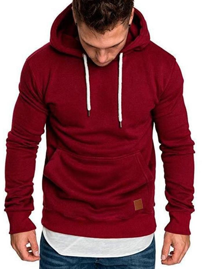 63b91d1aa77e Loose Plain Lace Up Pullover Men s Hoodie with Pocket – hebedress.com