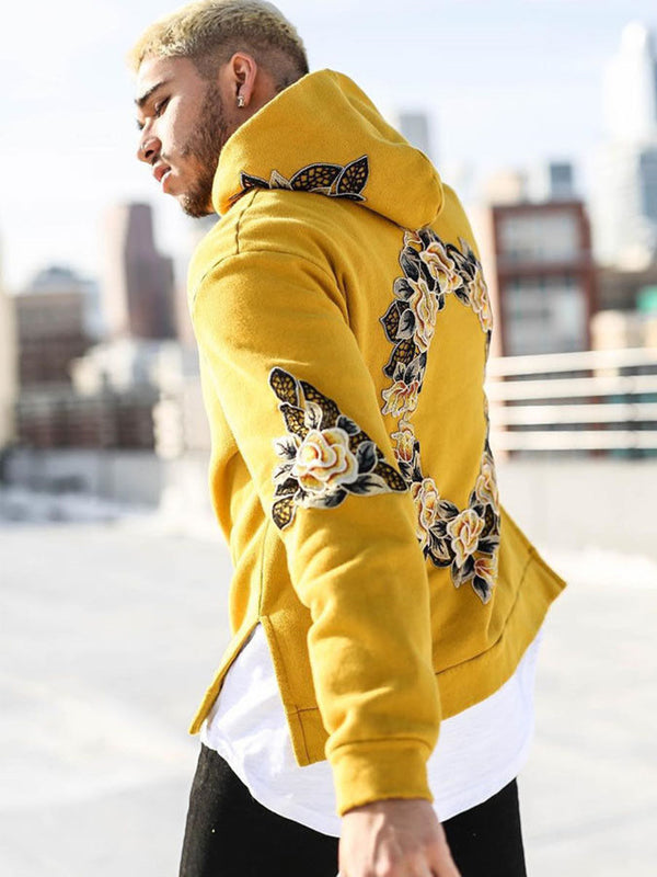 Flower Print Hiphop Style Men's Loose Hoodie