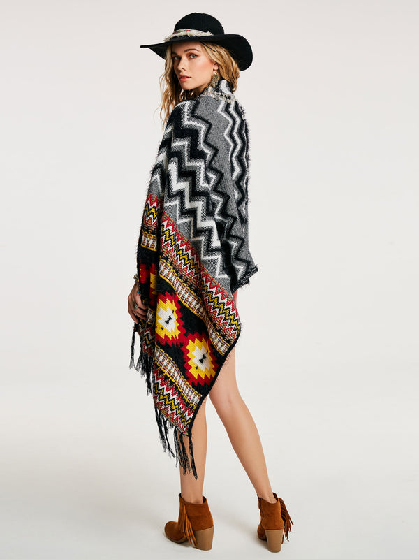Color Block Geometric Pattern Frauen Umhang