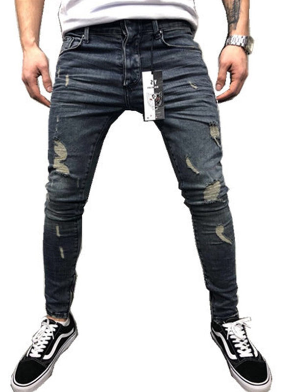 European Worn Zipper Bottom Slim Fit Men's Pencil Jeans