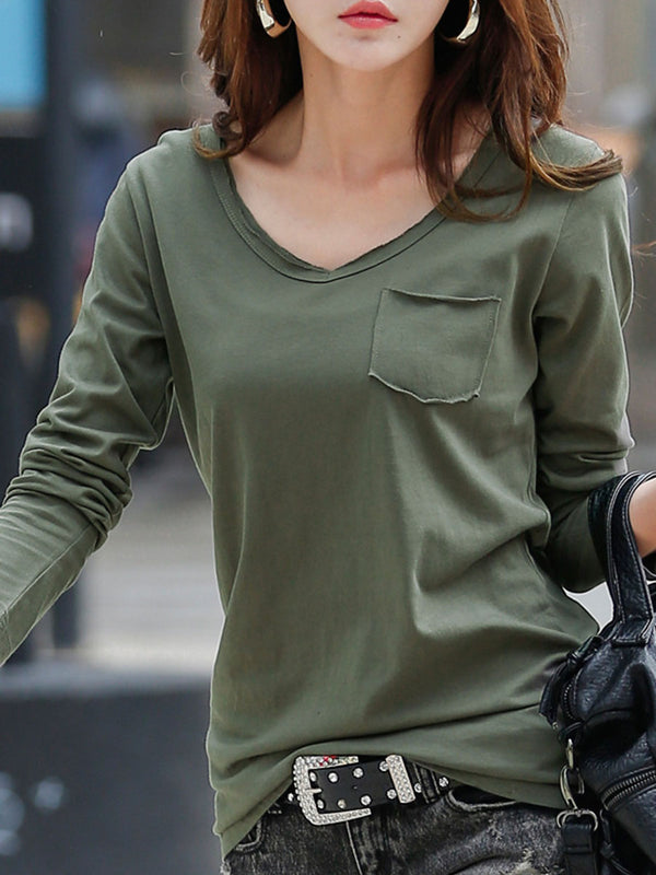 V-Neck Spring Plain Fall T-shirt