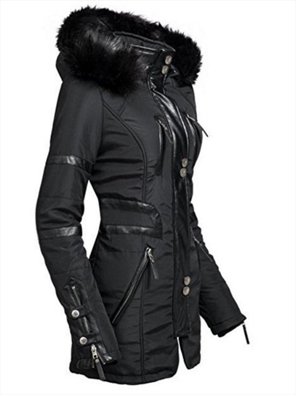 Mid-Length Hooded Zipper Up Slim Women's Winter Coat