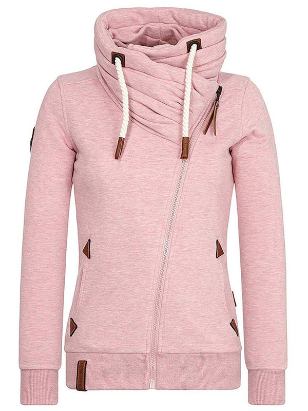 High Neck Pure Color Porcket Slim Women's Hoodie