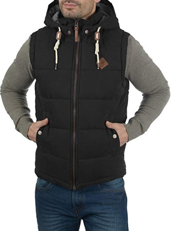 Hooded High Neck Sleeveless Zipper Up Winter Men's Vest