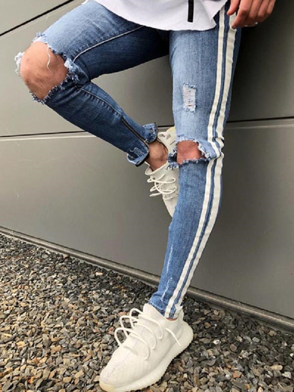 Denim Hole Stripe Side Herrenjeans