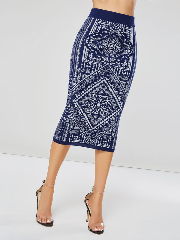 Tea Length Geometric Print Bodycon Women's Skirt