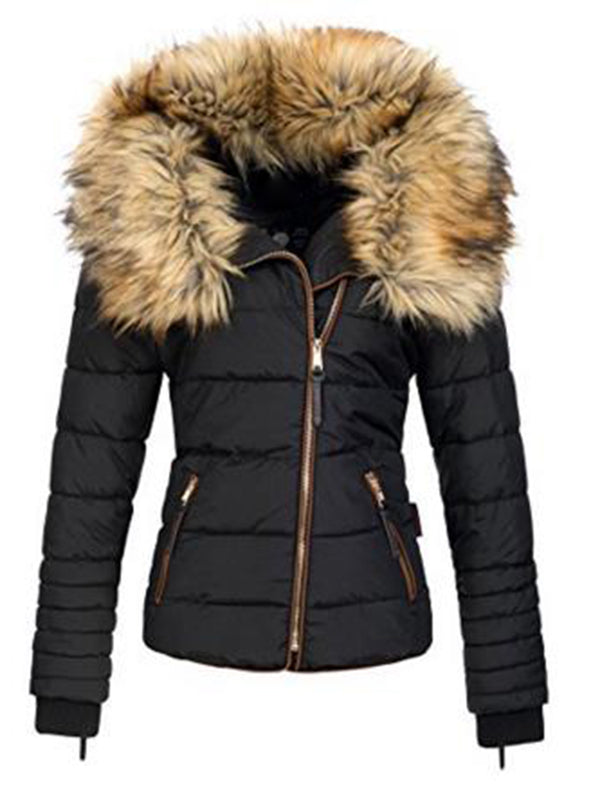 Hooded Slim Short Women's Artificial Wool Zipper Coat