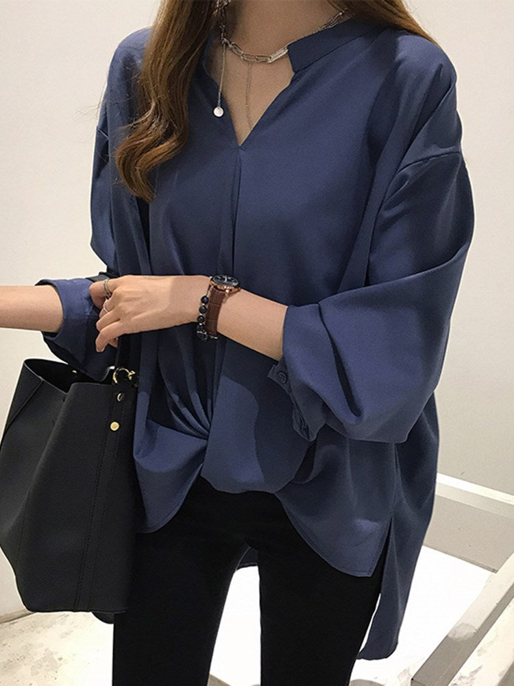 V-Neck Long Sleeve Loose Casual Irregular Women's Blouse