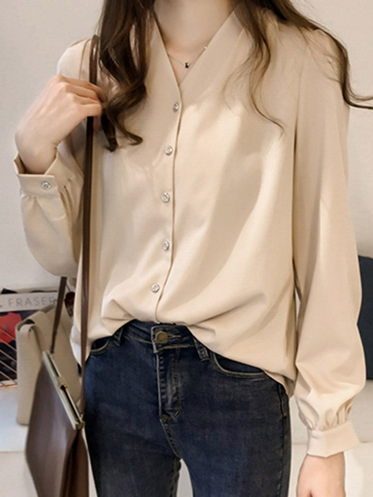 V-Neck Single-Breasted Plain Loose Casual Women's Long Sleeve Blouse