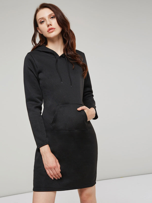 Hooded Solid Color Long Sleeve Women's Sweater Dress