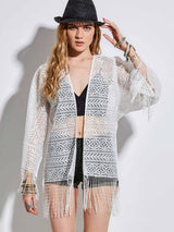 Tassel Long Sleeve Loose Lace Women's Cap Beachwear