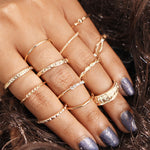 12 Piece Vintage Style Rhinestone Women's One Size Ring
