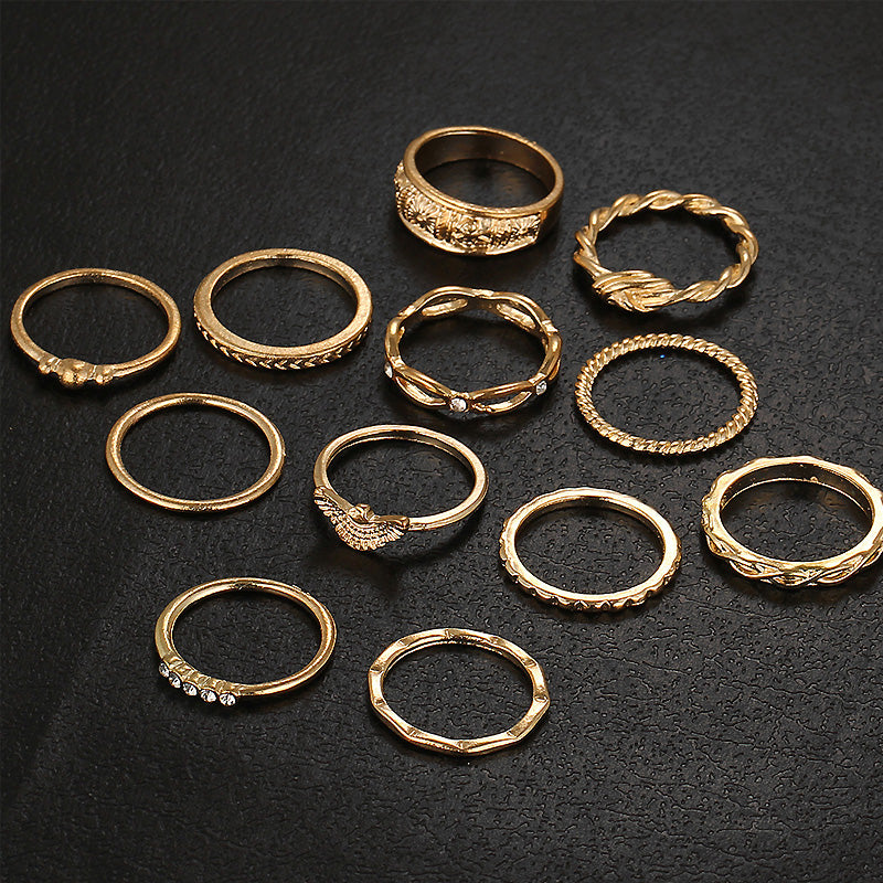 12 Piece Vintage Strass Women's One Size Ring