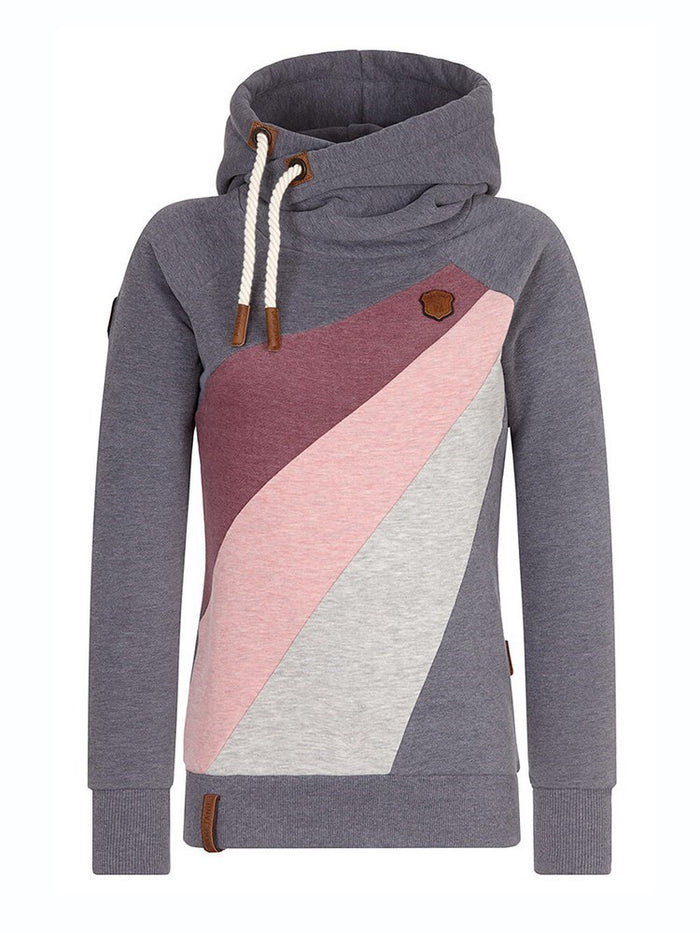 Hebedress Color Block Patchwork Pullover Slim Fit Cool Hoodie