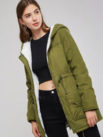 Mid-Length Army Green Drawstring Dual Pocket Women's Cotton Clothes