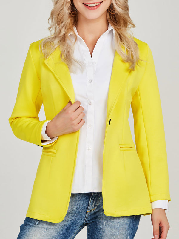 Revers cranté jaune un bouton Slim Office Lady Blazer