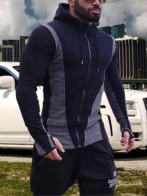 Hebedress Patchwork Zipper Slim Hooded - Hoodies décontractés pour hommes