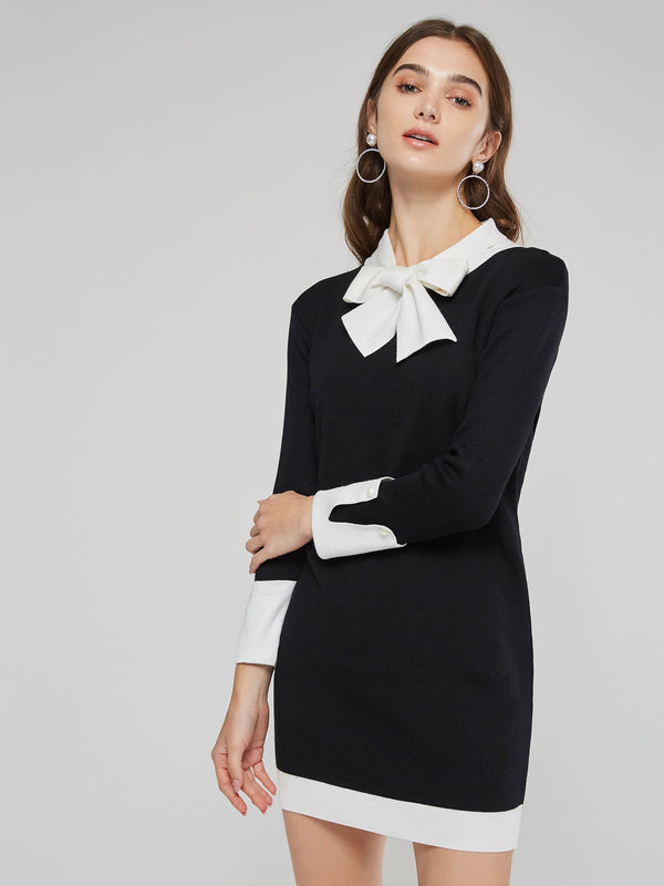 Bow Collar Patchwork Women's Long Sleeve Dress