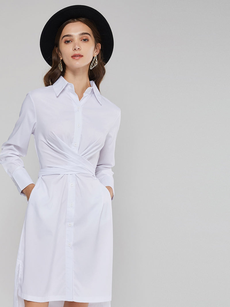 Knee-Length Polo Neck Bowknot Lace Up Women's Long Sleeve Dress