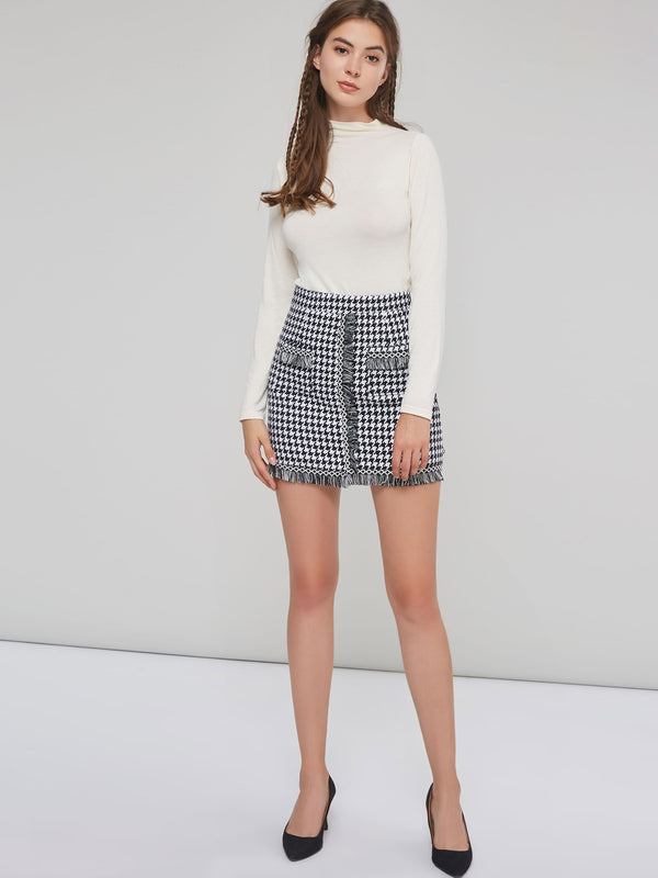 Korean Style Houndstooth Tassel Bodycon Women's Mini Skirt