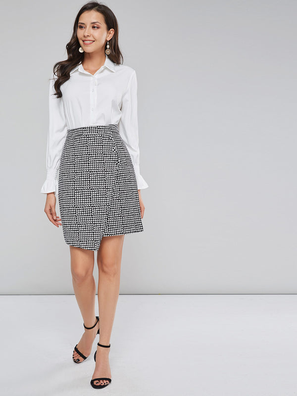 Houndstooth Print Asymmetrical Office Lady Mini Skirt