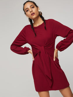Lace Up Waist Round Neck Long Sleeve Pullover Casual Dress