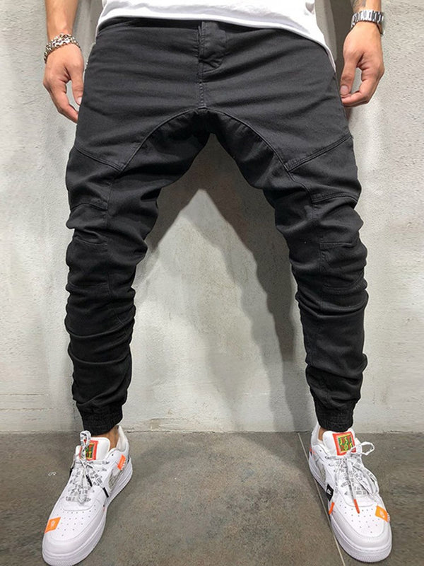 Mid-Waist Micro-Elastic Sports Loose Fit Men's Casual Pants