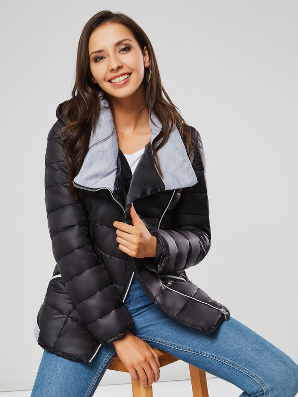 Lapel Tight Waist Hooded Asymmetric Zipper Up Winter Women's Jacket