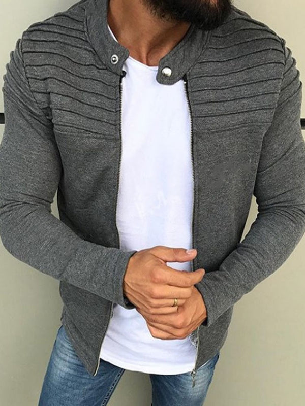 Stand Collar Slim Short Men's Hoodie Jacket