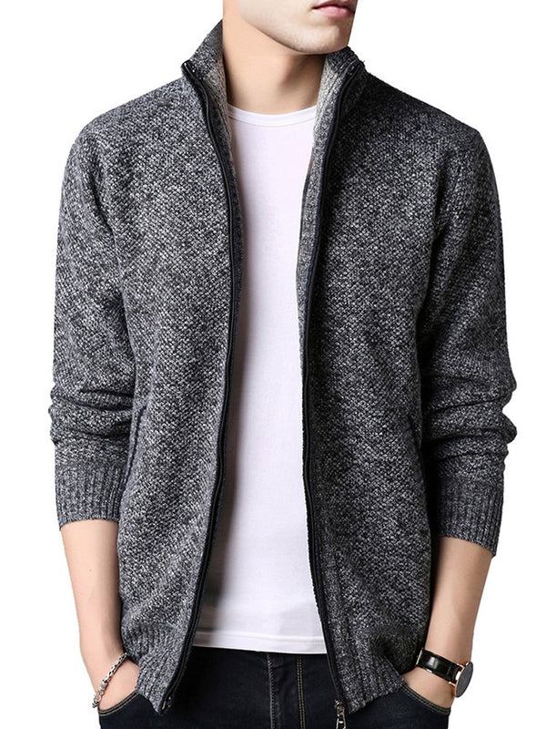 Solid Color Zipper Up Stand Collar Plain Men's Sweater
