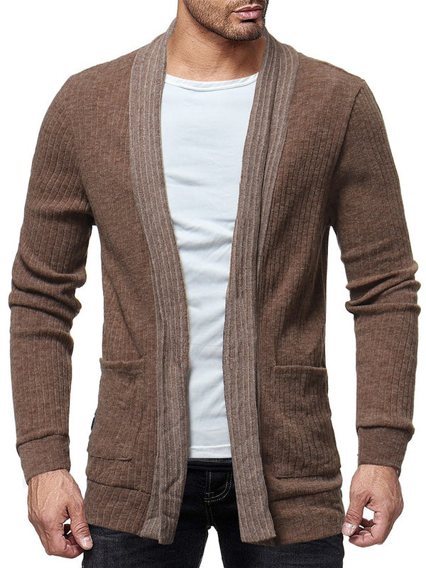 European Patchwork Lapel Loose Cotton Mid-Length Men's Cardigan Sweater