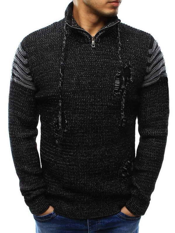 Drawstring Slit Hole Patchwork Men's Sweater