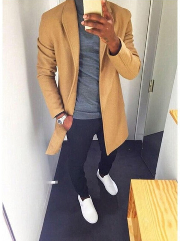 England Style Solid Color Middle Length Lapel Fashion Men's Woolen Coat