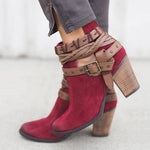 6cm Chunky Heel Ankle Length Suede Women's Fashion Boots