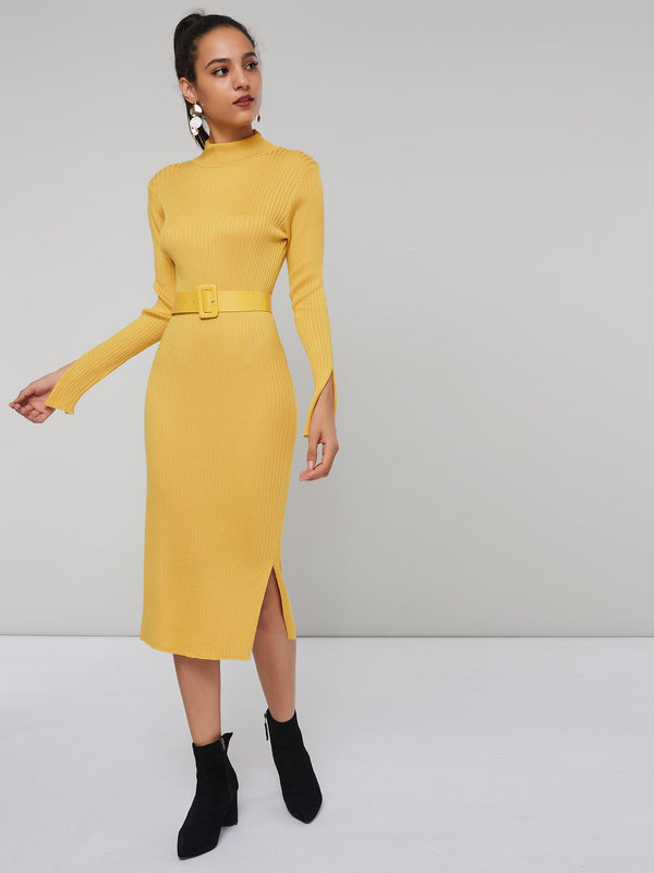 Turtleneck Belt One Size Women's Long Sleeve Sweater Dress