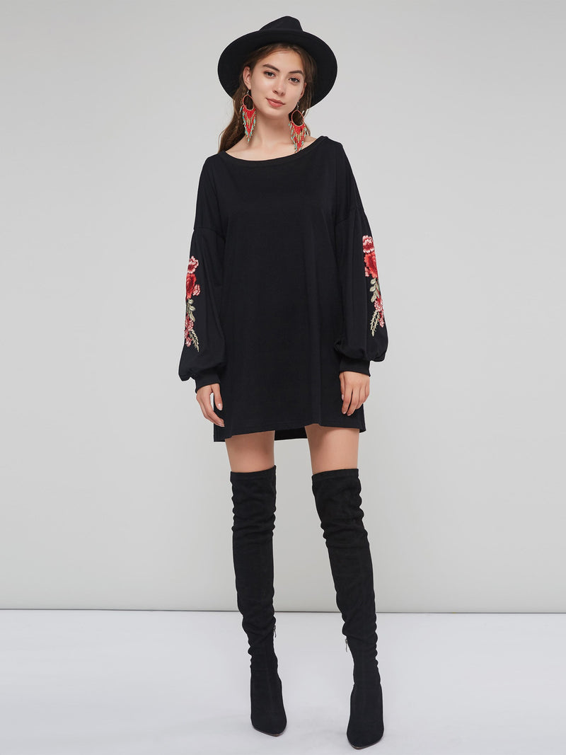 Flowers Embroidery Straight Women's Knitted Dress