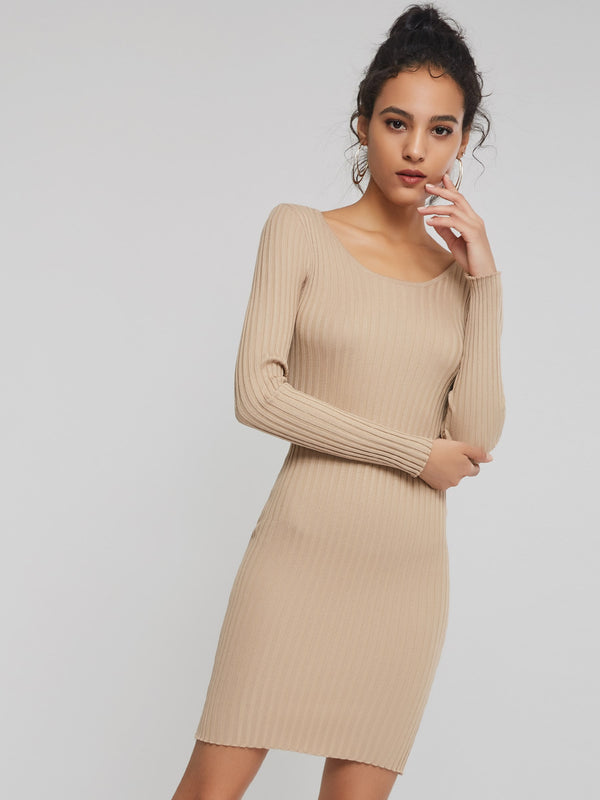 Vestido de suéter bodycon simple de un tamaño albaricoque