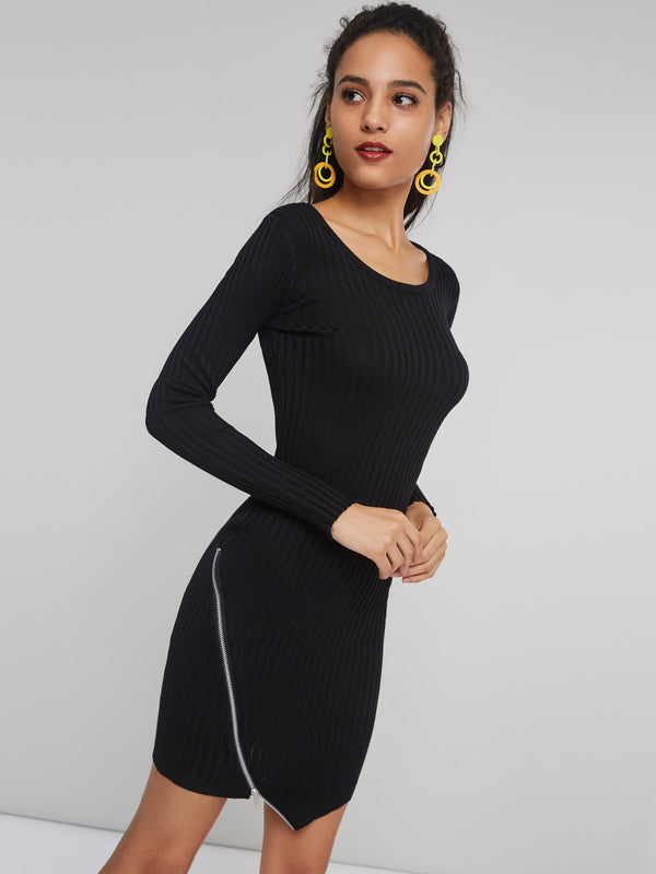 Small Size Scoop Neck Long Sleeve Bodycon Sweater Dress