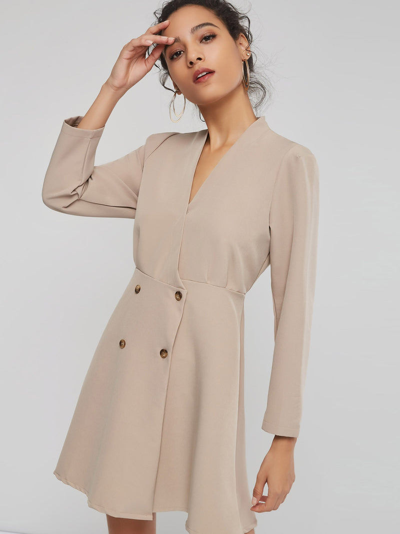 Double-Breasted A-Line One Size Women's Long Sleeve Dress