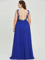 Scoop Neck Appliques A Line Evening Dress