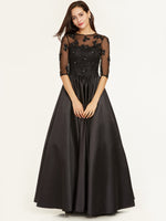 Half Sleeves Scoop Neck Beaded A Line Evening Dress