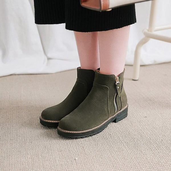 Round Toe Side Zipper Women's Fashion Boots