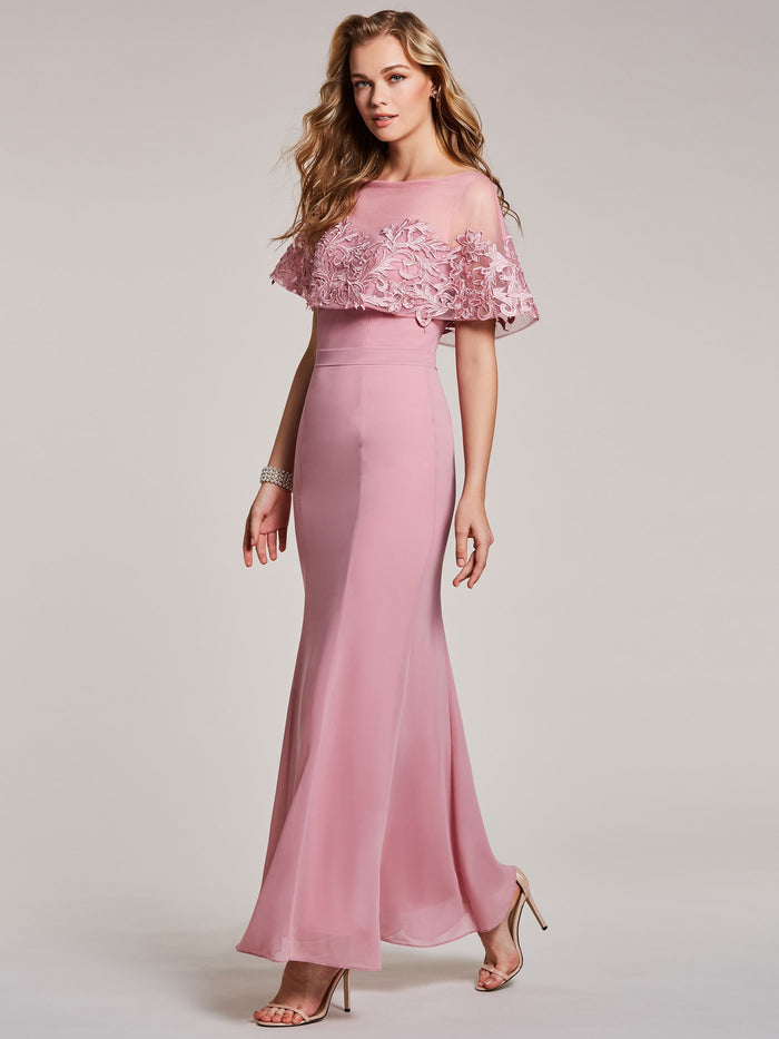 Bateau Neck Lace Appliques Mermaid Evening Dress