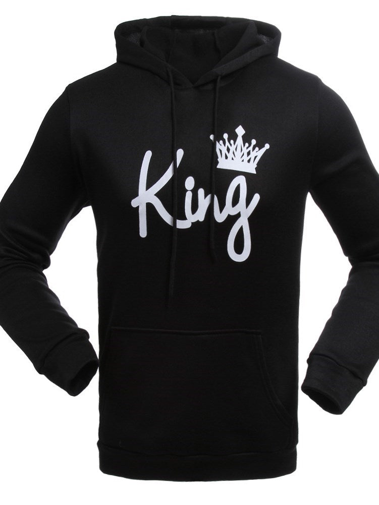 Fashion winter and autumn king and queen cotton long sleeve black couple crown print hoodies pullover men sweatshirts